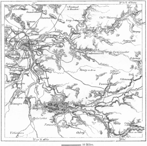 Associate Product FRANCE. Paris Aqueducts, sketch map c1885 old antique vintage plan chart
