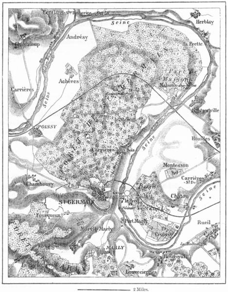 Associate Product FRANCE. St Germain-en-Laye, sketch map c1885 old antique plan chart