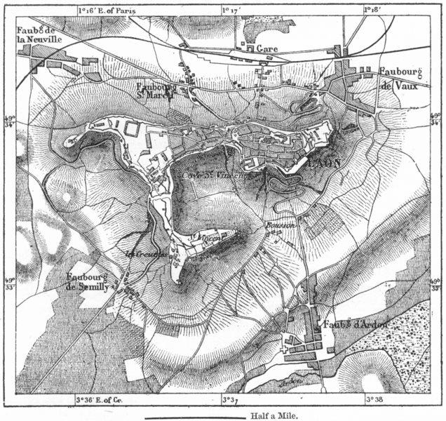 Associate Product FRANCE. Laon, sketch map c1885 old antique vintage plan chart