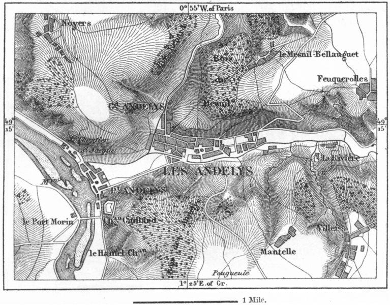 FRANCE. Andelys, sketch map c1885 old antique vintage plan chart