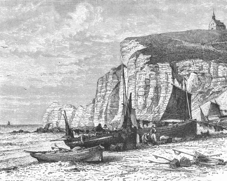 Associate Product FRANCE. Cliffs of Etretat c1885 old antique vintage print picture