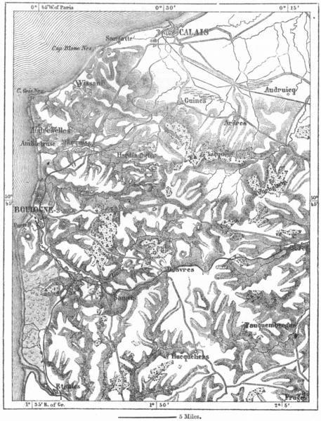 Associate Product FRANCE. Hills of Boulogne, sketch map c1885 old antique vintage plan chart