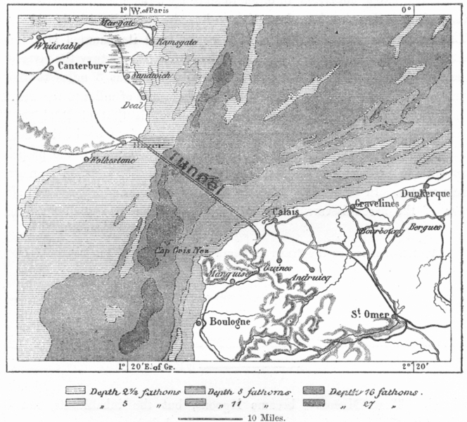 Associate Product DOVER. Strait; Planned channel Tunnel, sketch map c1885 old antique chart
