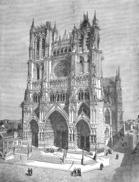 Associate Product FRANCE. Cathedral of Amiens c1885 old antique vintage print picture