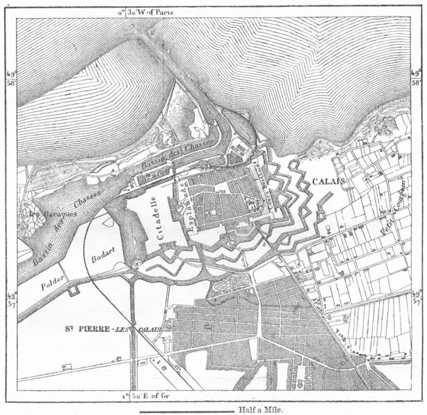 Associate Product FRANCE. Calais, sketch map c1885 old antique vintage plan chart