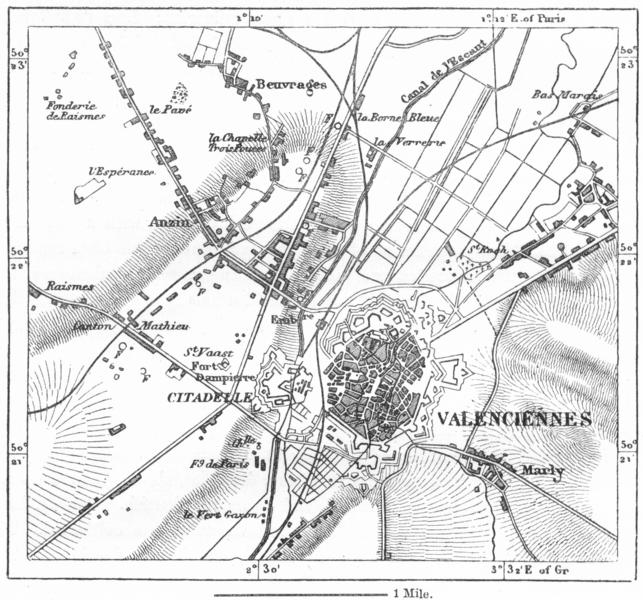 FRANCE. Valenciennes, sketch map c1885 old antique vintage plan chart