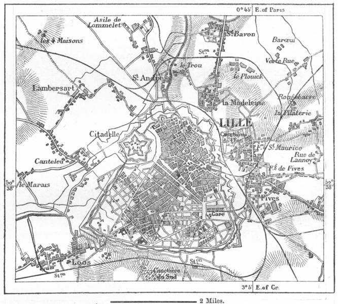 Associate Product FRANCE. Lille, sketch map c1885 old antique vintage plan chart