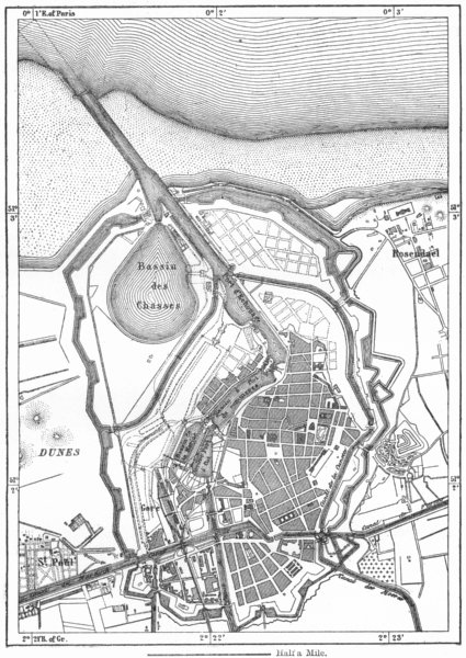 Associate Product FRANCE. Dunkirk, sketch map c1885 old antique vintage plan chart