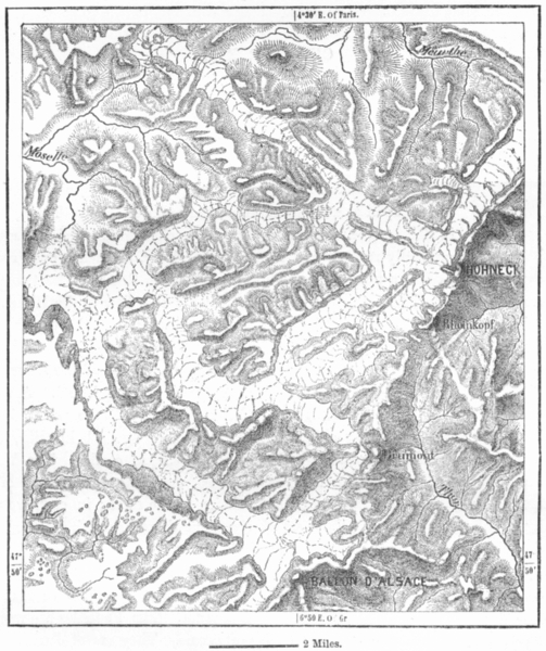 Associate Product FRANCE. Glaciers of Vosges, sketch map c1885 old antique plan chart