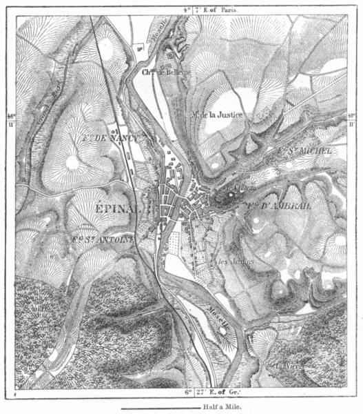 Associate Product FRANCE. Epinal, sketch map c1885 old antique vintage plan chart