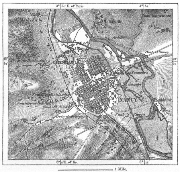 Associate Product FRANCE. Nancy, sketch map c1885 old antique vintage plan chart