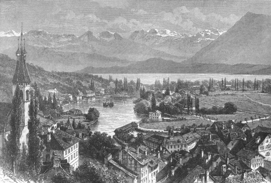 Associate Product SWITZERLAND. Lake Thun c1885 old antique vintage print picture