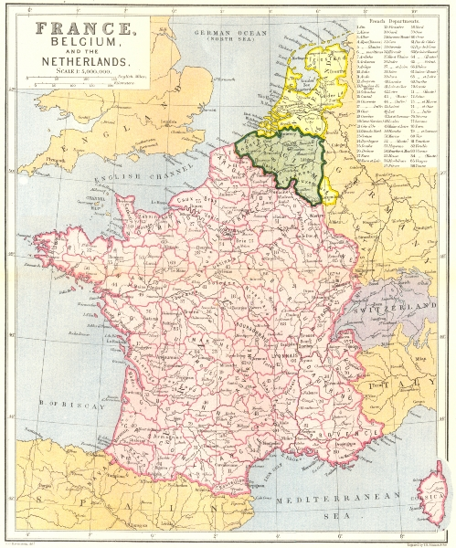 Associate Product FRANCE. Belgium & Netherlands c1885 old antique vintage map plan chart