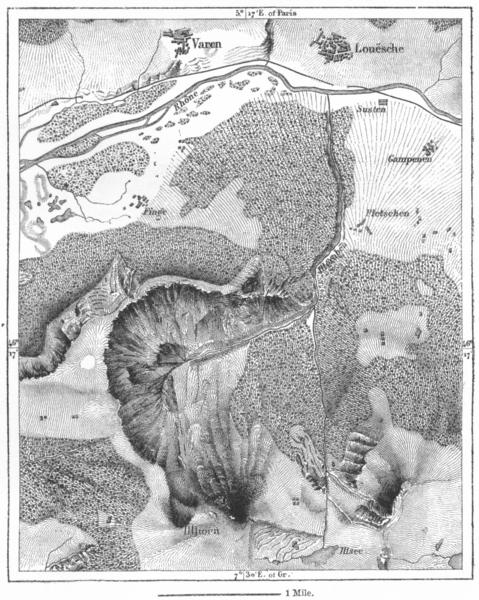 Associate Product SWITZERLAND. Amphitheatre Illgraben, sketch map c1885 old antique chart