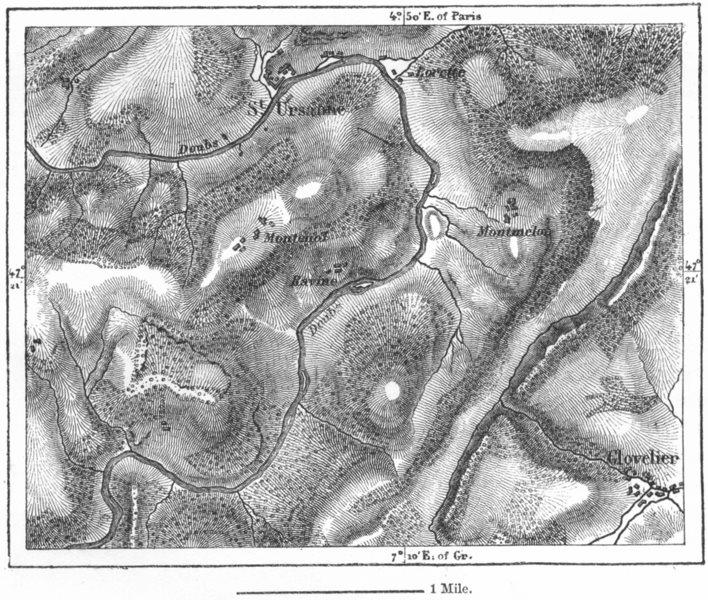 Associate Product SWITZERLAND. River Doubs St Ursanne, sketch map c1885 old antique chart