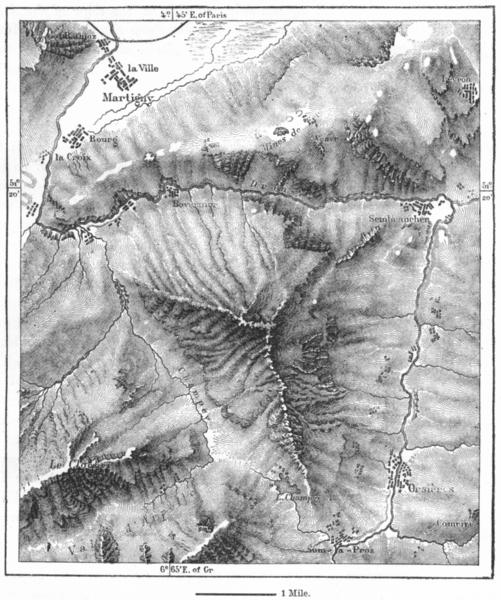 Associate Product SWITZERLAND. Catogne, sketch map c1885 old antique vintage plan chart
