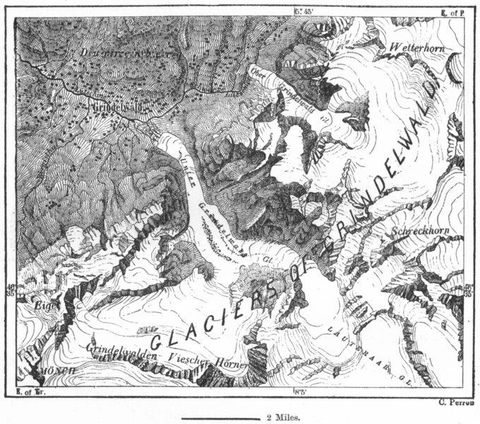 Associate Product SWITZERLAND. Grindelwald Glacier, sketch map c1885 old antique plan chart
