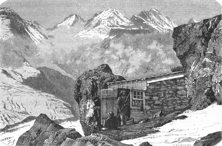 Associate Product SWITZERLAND. Alpine hut, Altels Gspaltenhorn c1885 old antique print picture