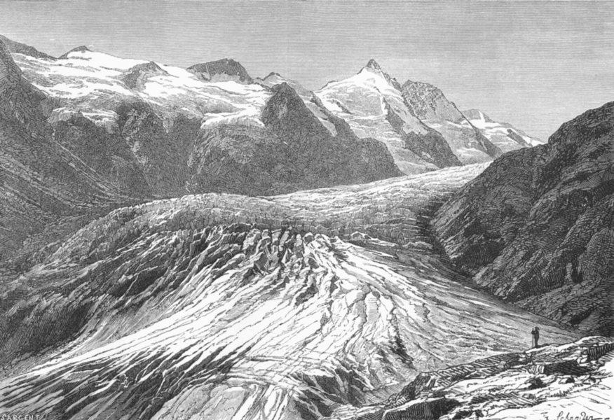 Associate Product AUSTRIA. Gross-Glockner & Pasterze Glacier c1885 old antique print picture