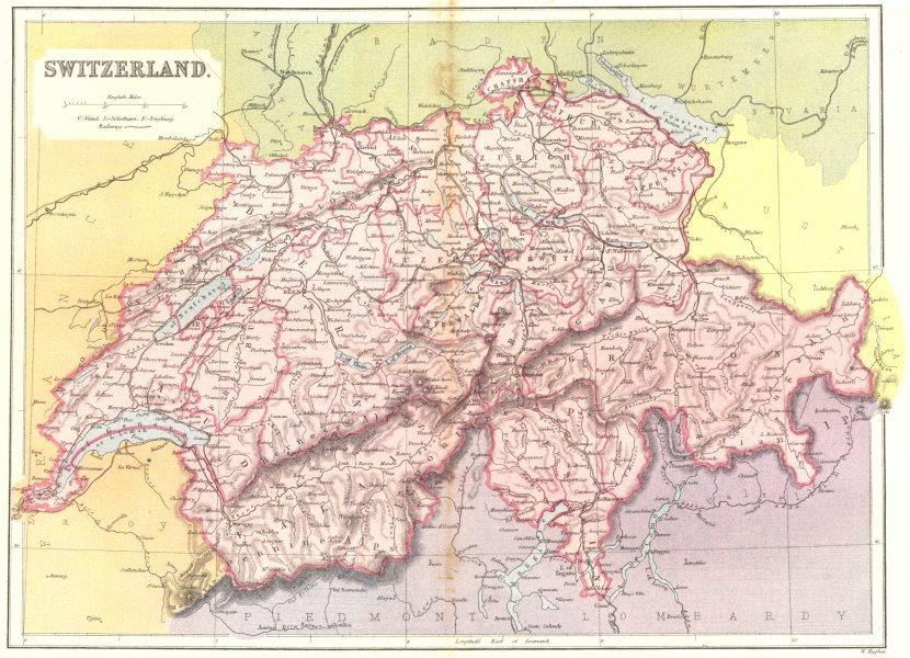Associate Product SWITZERLAND  c1885 old antique vintage map plan chart