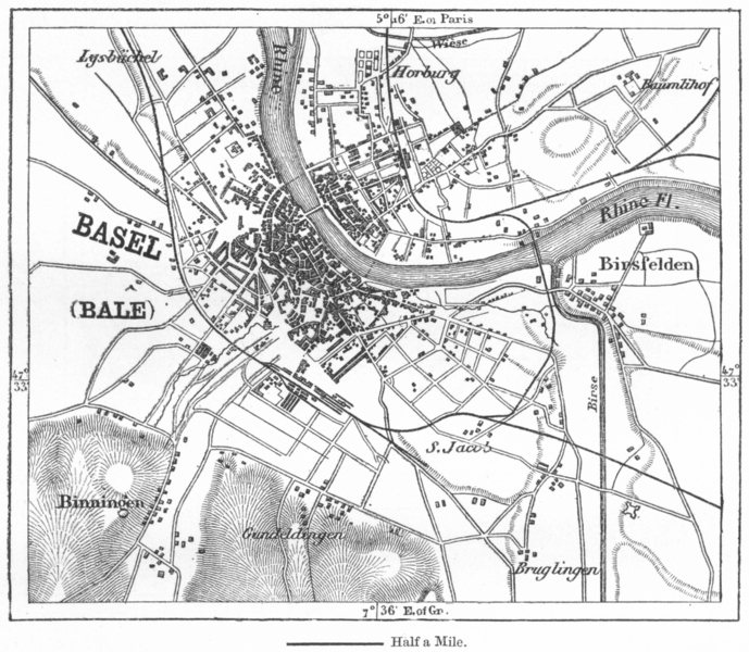 Associate Product SWITZERLAND. Basel(Bale)sketch map c1885 old antique vintage plan chart