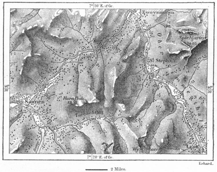Associate Product SIMMENTHAL. Sennhutten, Herdsmen huts, sketch map c1885 old antique chart