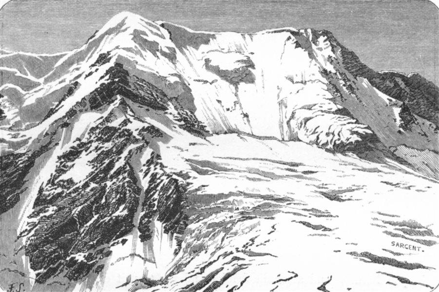 Associate Product SWITZERLAND. An Avalanche, Ebene Fluh c1885 old antique vintage print picture