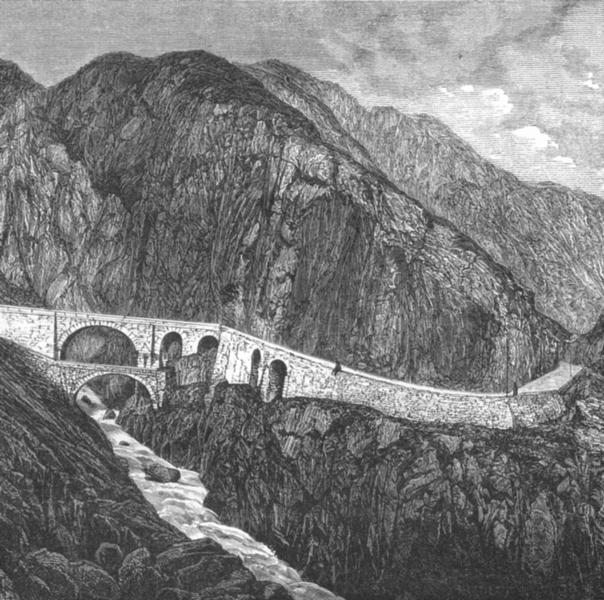 Associate Product SWITZERLAND. Devil's bridge Rd St Gotthard c1885 old antique print picture