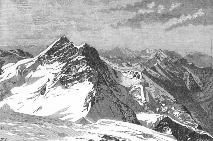 Associate Product JUNGFRAU. Monch, Silberhorn, Schneehorn, Altels c1885 old antique print