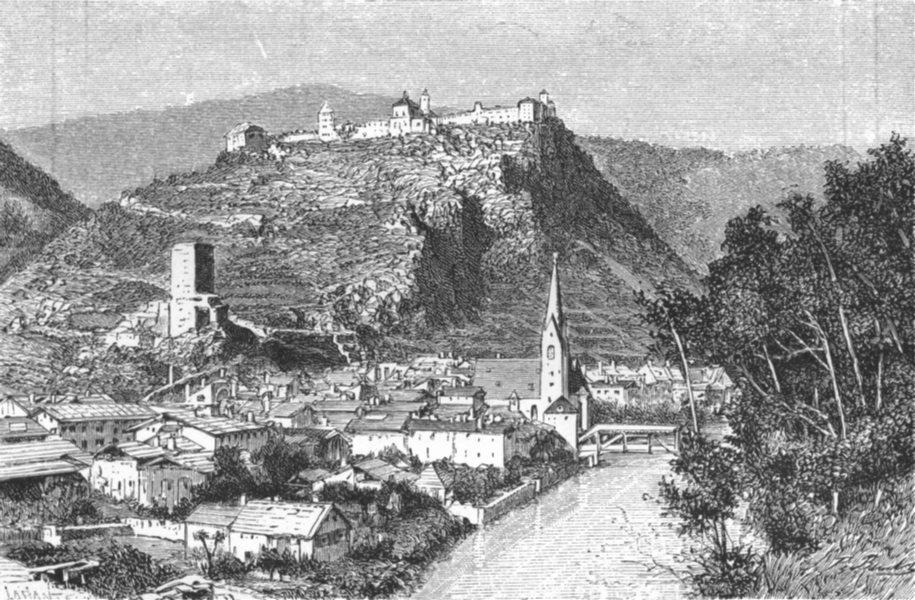 AUSTRIA. Klausen, road, Brenner c1885 old antique vintage print picture