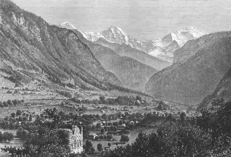 Associate Product SWITZERLAND. Jungfrau, from Unspunnen Castle c1885 old antique print picture