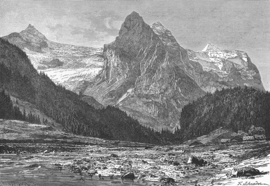 Associate Product SWITZERLAND. Wellhorn & Rosenlaui Glacier c1885 old antique print picture
