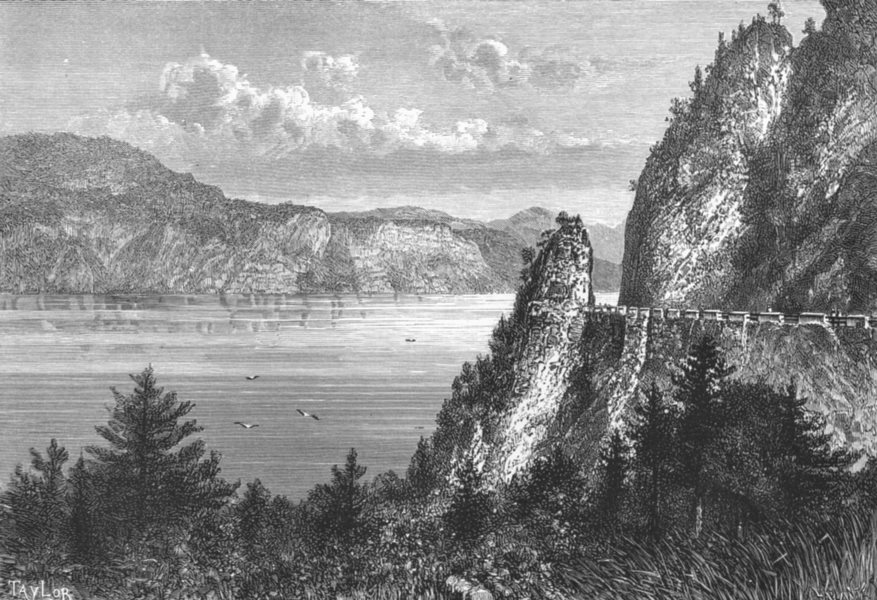 Associate Product SWITZERLAND. Lake 4 Cantons c1885 old antique vintage print picture