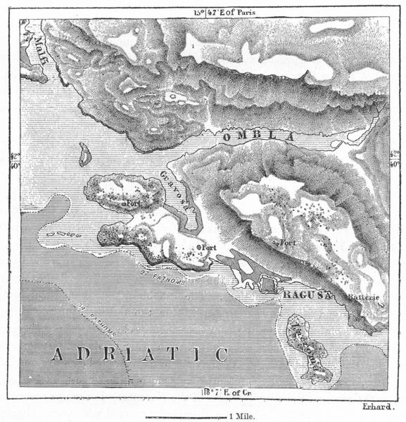 CROATIA. Ombla, Gravosa & Dubrovnik, sketch map c1885 old antique chart