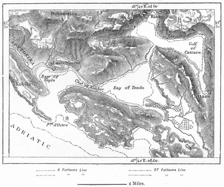 Associate Product MONTENEGRO. Kotor Bay, sketch map c1885 old antique vintage plan chart