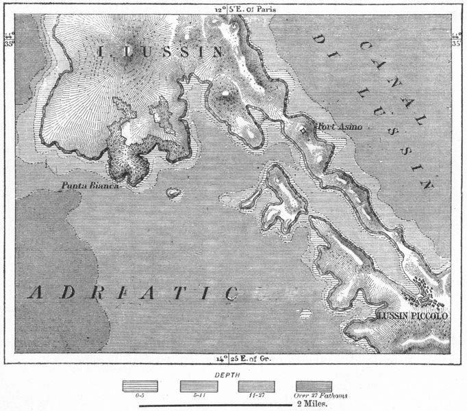 Associate Product CROATIA. Lussinpiccolo, sketch map c1885 old antique vintage plan chart