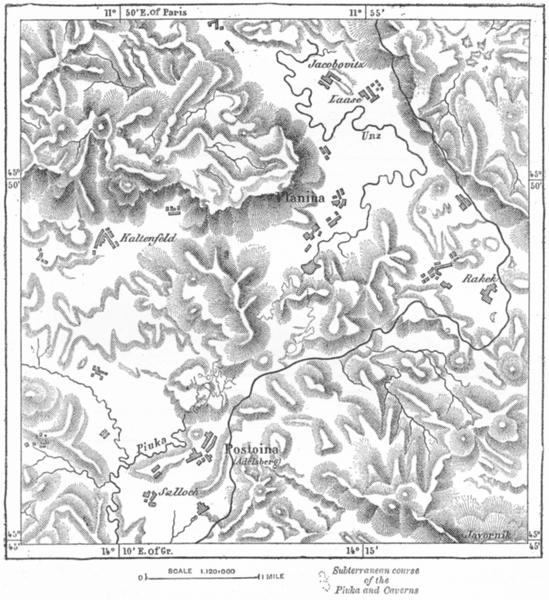 Associate Product POSTOJNA. Caverns of(Adelsberg)sketch map c1885 old antique plan chart