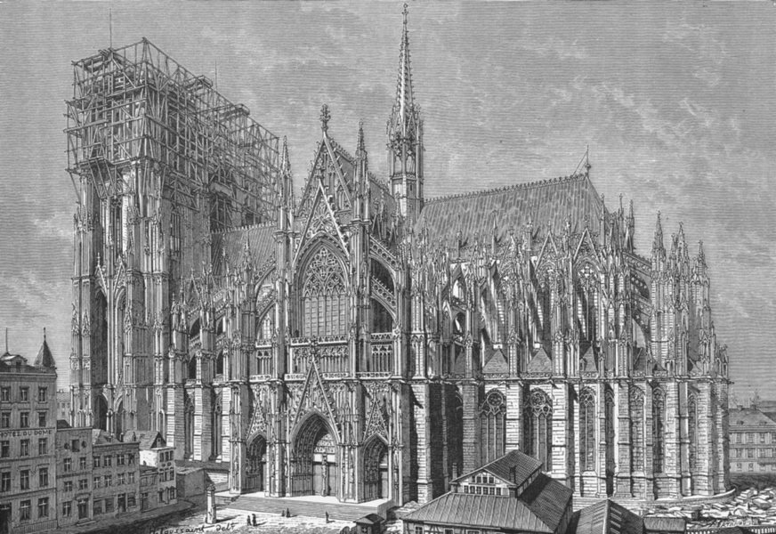 Associate Product GERMANY. Cathedral of Cologne in 1875 c1885 old antique vintage print picture