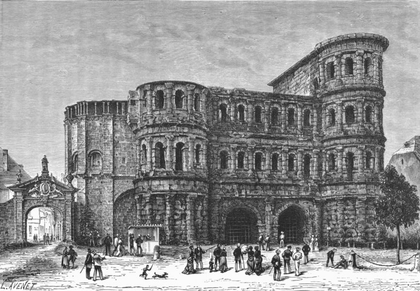 Associate Product GERMANY. Porta Nigra at Trier c1885 old antique vintage print picture