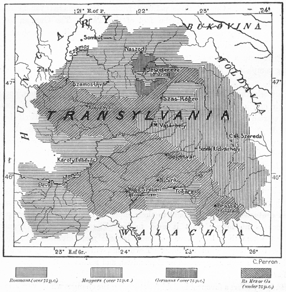 Associate Product TRANSYLVANIA. Linguistic Kelety Karoly, sketch map c1885 old antique chart
