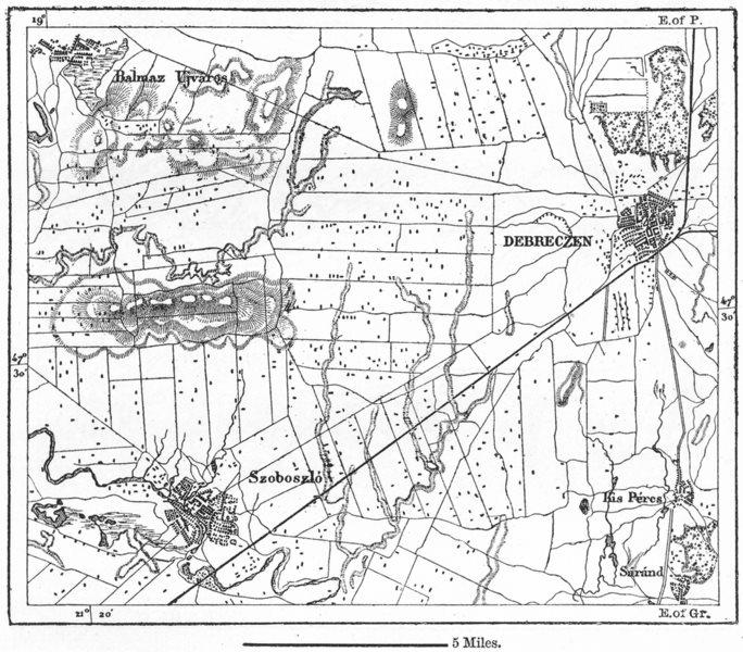 Associate Product HUNGARY. Debreczen, sketch map c1885 old antique vintage plan chart