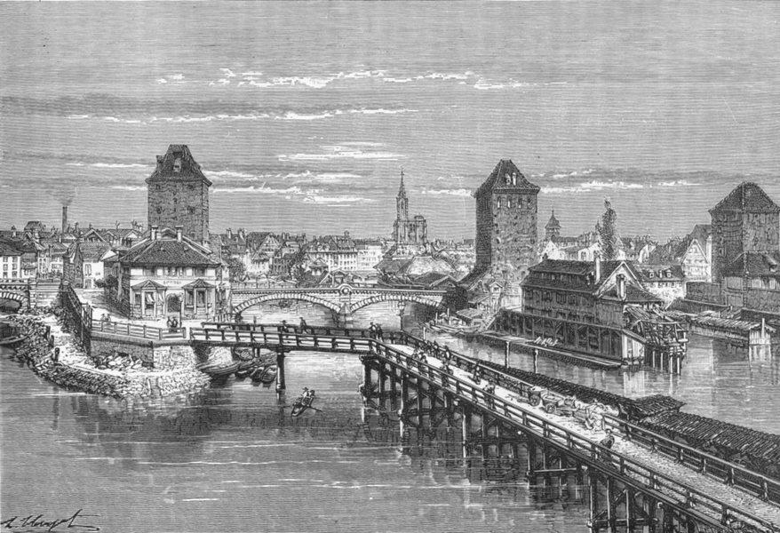 Associate Product FRANCE. Strasbourg, Covered bridge c1885 old antique vintage print picture
