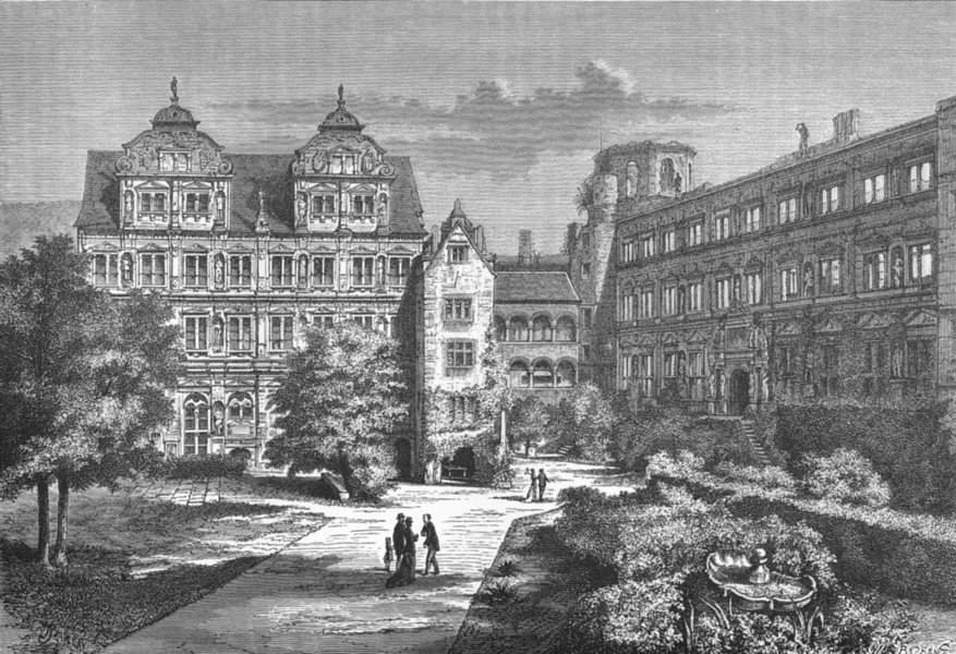 Associate Product GERMANY. Heidelberg Castle(Inner Court) c1885 old antique print picture