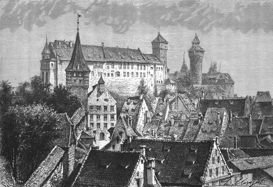 Associate Product GERMANY. Castle at Nuremburg(Nurnberg) c1885 old antique vintage print picture