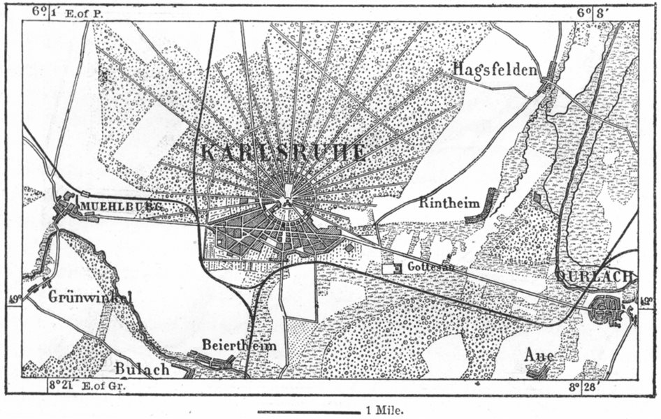 Associate Product GERMANY. Karlsruhe, sketch map c1885 old antique vintage plan chart