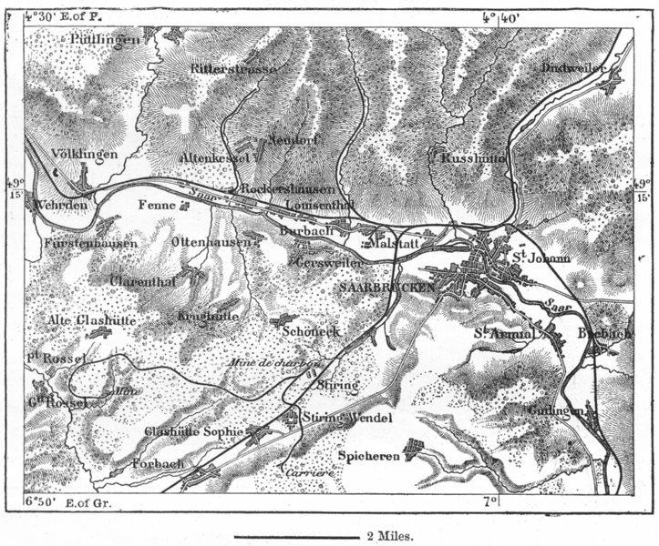 Associate Product GERMANY. Saarbrucken, sketch map c1885 old antique vintage plan chart