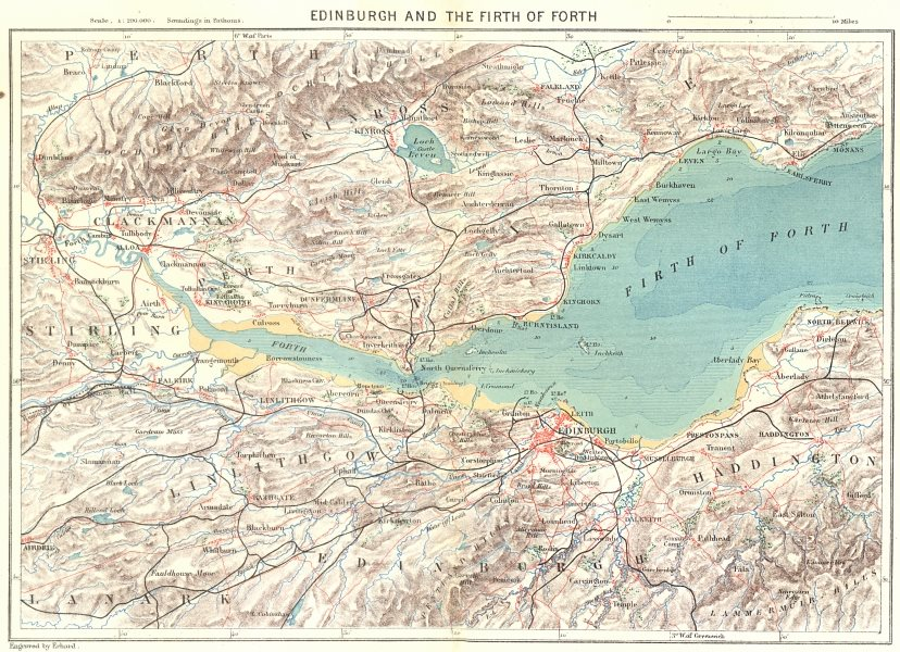 Associate Product SCOTLAND. Edinburgh & Firth of Forth c1885 old antique vintage map plan chart