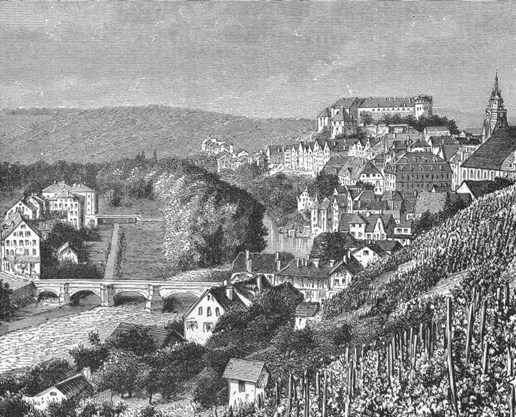 Associate Product GERMANY. Tubingen c1885 old antique vintage print picture