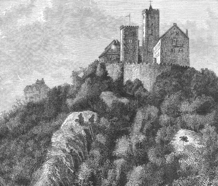 GERMANY. Wartburg c1885 old antique vintage print picture
