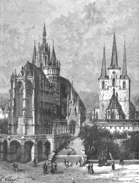 Associate Product GERMANY. Cathedral at Erfurt c1885 old antique vintage print picture